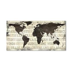 - Yazılı Dünya Haritası Kanvas Tablo