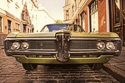 - Yeşil Klasik Araba Kanvas Tablo